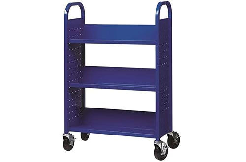 Hirsh Rolling Library or Home Office Single-Sided Sloped Shelves Book Carts with Lockable Wheels in Blue