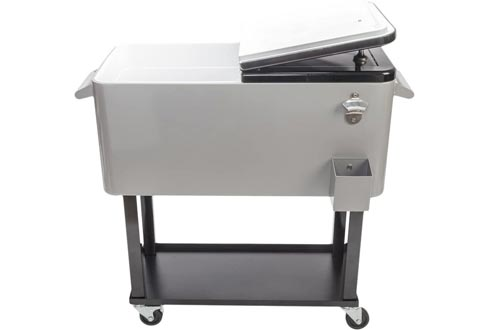 Goujxcy 80-Quart Portable Rolling Chest Cooler Carts, Portable Patio Party Bar Drink Cooler Carts, with Shelf, Beverage Pool with Bottle Opener, Stainless Steel