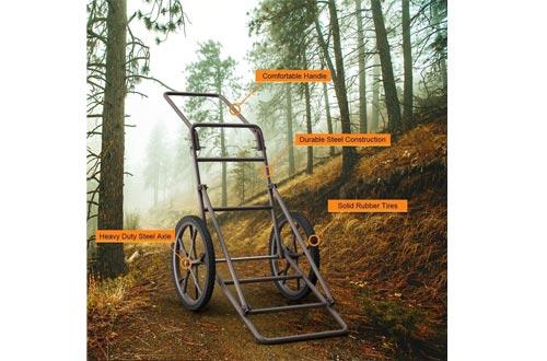 FANTASK Folding Deer Game Cart, Hauler Utility Gear Dolly Carts with Big Wheels, Kill Shot Hauler Carts, 500 lbs Weight Capacity Heavy-Duty Steel Deer Game Carts