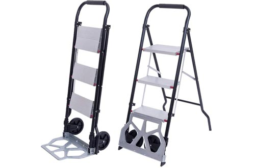 Goujxcy Dual-Use Folding Ladder,3 Step Ladder with Rolling Wheels - 2 in 1 Convertible Folding Heavy Duty Step Ladders/Hand Truck