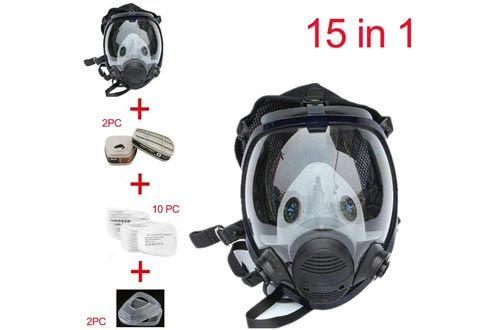 QQA Full Face Respirators,15 In1 Wide Field of View,Widely Used in Paint Sprayer