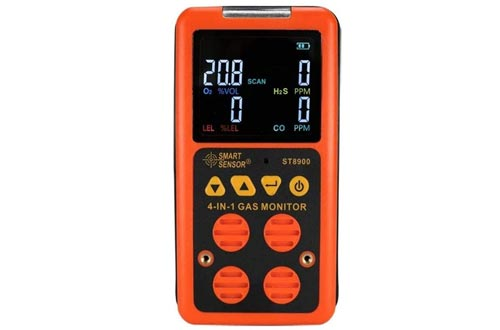 BIKEULTIMATE Multigas Detector Home Gas Alarm; CO, H2S, LEL and O2, Leak Tester Monitors Combustible Gas Level Gas Monitors with Voice/Light Warning Alarm & Display Multimeter Digital Tester