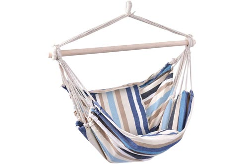 Giantex Hammock Swing, Hanging Rope Hammock Chairs with 2 Cushions for Patio Porch Yard Tree C Hammock Stand, Cotton Hanging Air Swing