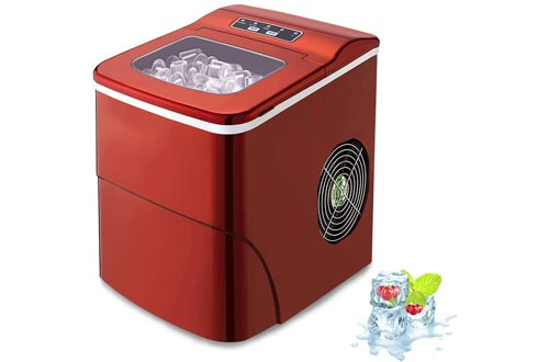 AGLUCKY Counter top Ice Makers Machine,Compact Automatic Ice Makers, 9 Cubes Ready in 6-8 Minutes,Portable Ice Cube Makers with Ice Scoop and Basket