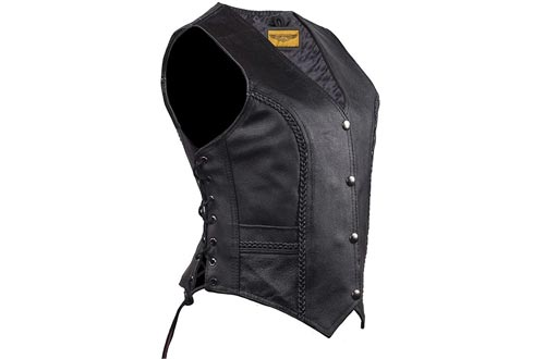 Womens Black Leather Motorcycle Vests with Braid on Front and Back Side Laces