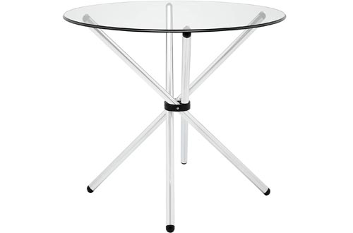 """Modway Baton 36"""" Modern Kitchen and Dining Tables with Round Glass Top and Stainless Steel Base"""
