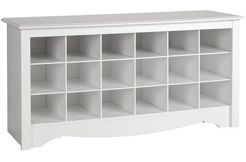 White Shoe Storage Cubbie Benchs