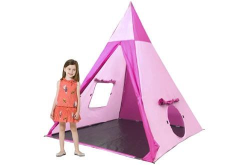 EasyGoProducts Indoor Tee Pee Tents – Play Teepee Tents for Kids with Five Wood Poles & Carry Bag – Five-Sided Walls with Door, Window & Floor