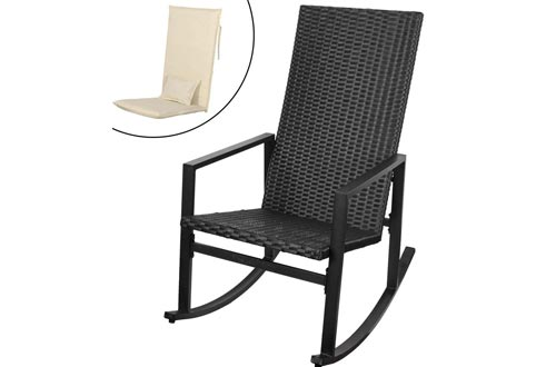 Sundale Outdoor Indoor Wicker Rocking Chair with Cushion and Pillow All- Weather Rocker Armchairs Rattan Furniture for Patio, Pool, Deck, Home, Weight Capacity 220 LBS, Light Yellow