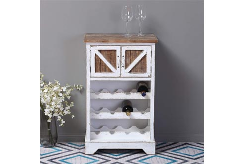 White and Natural Wood Wine Cabinets