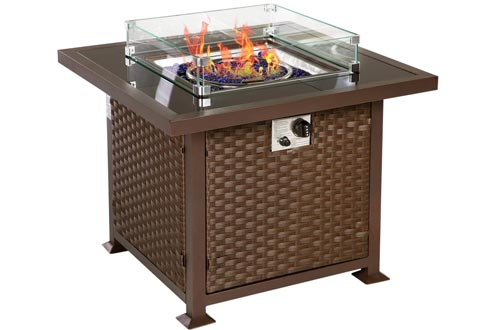 U-MAX 32 inch Outdoor Auto-Ignition Propane Gas Fire Pits Table, 50,000 BTU CSA Certificate Gas Firepit, Aluminum Fame, Wicker PE Rattan with Glass Wind Guard,Tempered Tabletop & White Arctic Gla,Brown