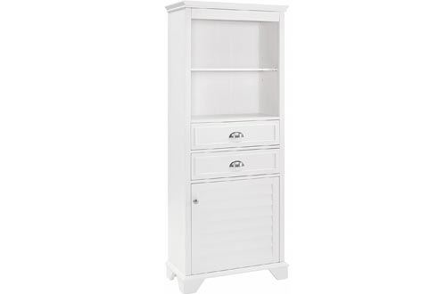 "Crosley Furniture Lydia Tall Bathroom Cabinets, 60"", White"