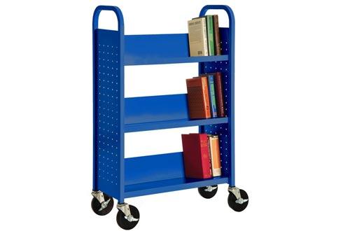"""Sandusky Lee SL327-06 Single Sided Sloped Shelf Welded Bookcase, 14"""" Length, 28"""" Width, 46"""" Height, 3 Shelves, Ocean"""