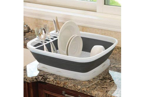 Prepworks by Progressive Collapsible Dish Rack with Drain Board, CDD-100, Perfect For RV Sinks, Camping Dish Tub