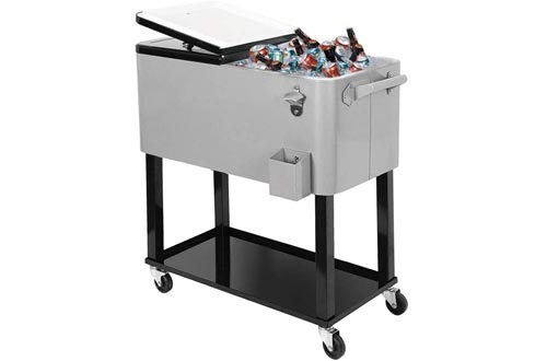 SUNCOO 80 Quart Rolling Ice Chest Cooler Carts for Outdoor Patio Deck Party, Portable Party Bar Cold Drink Beverage Tub Cooler Carts with Wheels, Shelf & Bottle Opener, Grey