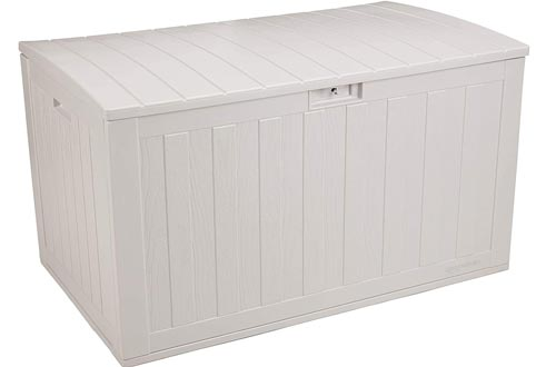 AmazonBasics 134-Gallon Resin Deck Storage Boxs, Grey
