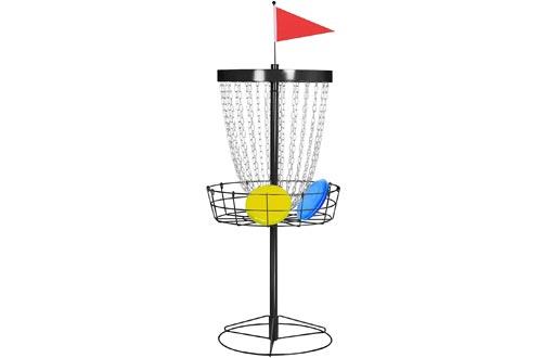 Topeakmart Portable 24-Chain Disc Golf Baskets Target Accessories, Steel Disc Golf Goals Black