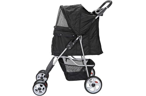Nova Microdermabrasion Foldable Pet Dog Strollers for Cats and Dog Four Wheels Carrier Strolling Cart with Weather Cover, Storage Basket + Cup Holder