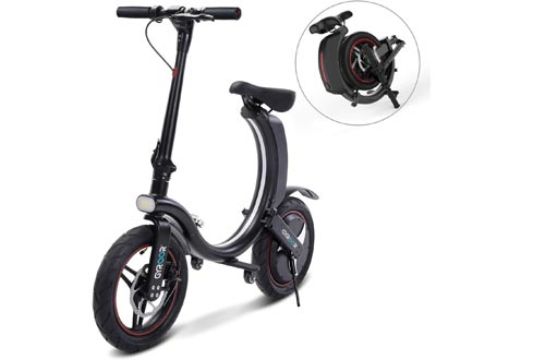 Gyroor 450W Folding Electric Bikes, Up to 23MPH with 20 Miles Range, 14 Inch Air-Filled Tires, 3 Adjustable Speeds Electric Bikes for Adults with Dual Braking System