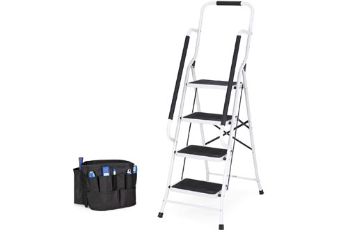 Best Choice Products 4-Step Portable Folding Anti-Slip Steel Safety Ladders w/Handrails, Attachable Tool Bag