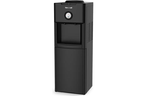 Honeywell HWB1062B Top Loading Dispensers-Two Temperature Settings-Hot & Cold Water Cooler With Cabinet-Holds 3 or 5 Gallon Bottles-Innovative Slim Design-34-Inch, Black, 34-Inch