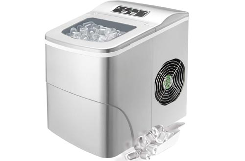 Antartic Star Countertop Portable Ice Makers Machine, 9 Ice Cubes Ready in 8 Minutes,Makes 26 lbs of Ice per 24 hours,with LCD Display, Ice Scoop and Basket Perfect for Parties Mixed Drinks