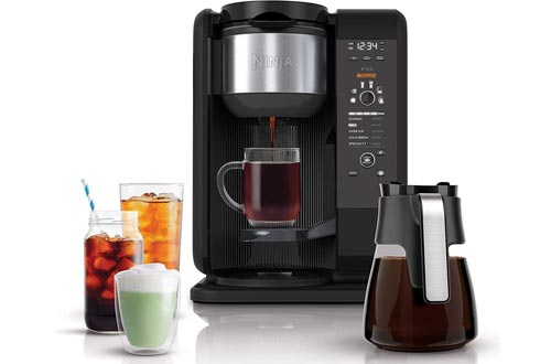 Ninja Hot and Cold Brewed System, Auto-iQ Tea and Coffee Makers with 6 Brew Sizes, 5 Brew Styles, Frother, Coffee & Tea Baskets with Glass Carafe (CP301)