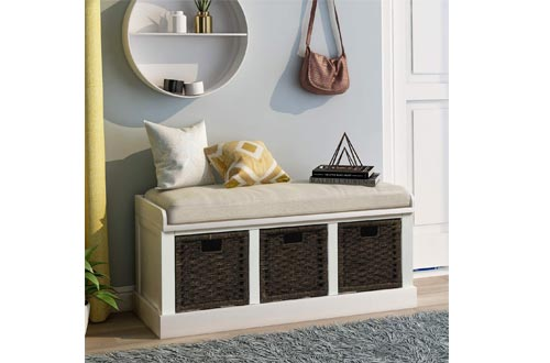 Storage Benchs with 3 Basket Drawers, Rustic Entryway Benchs/Shoe Benchs with Cushioned Seat for Entryway, Hallway, Mudroom, Living Room