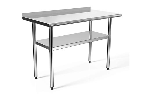 48x24 in Stainless Steel Prep Tables NSF Commercial Work Tables Food Metal Tables Heavy Duty Kitchen Garage Worktables and Workstations Sandwich Top
