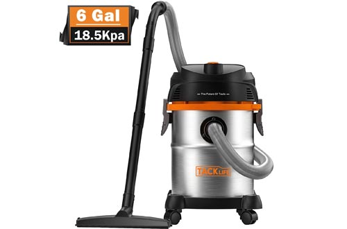 TACKLIFE Stainless Steel Shop Vacuums, 6 Gallon 6 Peak Hp Wet and Dry Vacuums, Wet/Dry Powerful Suction, Blow 3 in 1 Function, Suitable for Garage, Basement, Van, Workshop, Vehicle - PVC05B