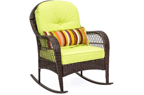Best Choice Products Outdoor Wicker Rocking Chairs for Patio, Porch, Deck, w/Weather-Resistant Cushions - Green
