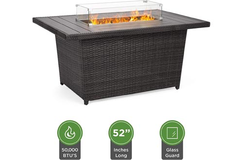 Best Choice Products 52in Outdoor Wicker Propane Fire Pits Table 50,000 BTU w/Glass Wind Guard, Tank Holder, Cover -Gray