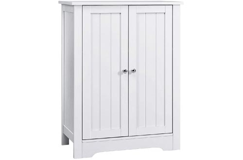 AOOU Bathroom Floor Cabinets, 32'' Wooden Freestanding Storage Cabinets with Double Door and Adjustable Shelf, Anti-toppling Side Cabinets for Laundry, Entryway, 31.5 x 23.6 x 11.8 inches, White