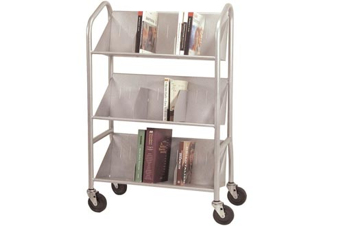 BDY54143 - Buddy Products Sloped Three-Shelf Book Carts