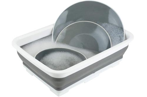 Home Basics Collapsible Silicone & Plastic Multi use - Wash Bin, Portable Washing Basin, Dishpan, Dish Tub, Ice Bucket for Indoor or Outdoor Use, Foldable Space Saving Plastic Washtub