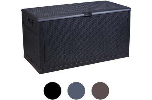 Plastic Deck Boxs Wicker 120 Gallon, Black - Waterproof Storage Container Outdoor Patio Garden Furniture