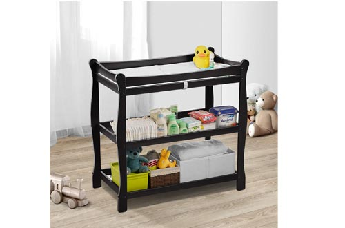 Baby Changing Tables, Kealive Wooden Diaper Changing Tables with 2 Shelves Open Storage, Infant Changing Tables Nursery Dresser with Pad and Safety Belt for Baby, Black