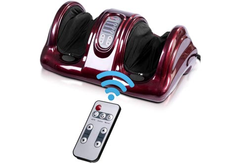Giantex Foot Massagers Machine Massage for Feet, Chronic Nerve Pain Therapy Spa Gift Deep Kneading Rolling Massage for Leg Calf Ankle, Electric Shiatsu Foot Massagers w/ Remote, Burgundy