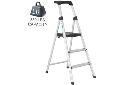 Dporticus Folding Portable 3 Steps Anti-Slip Step Ladders 330Lbs Load Capacity with Tool Tray