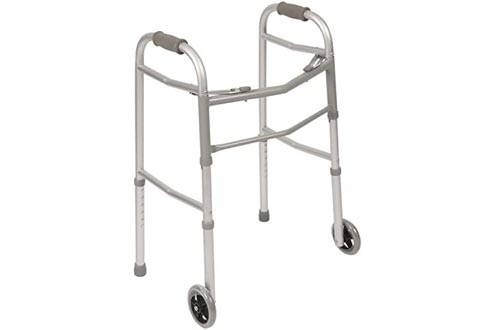 PCP Walkers Mobility Aid, Folding, Adjustable, Lightweight Stability with Skis & Wheels, Grey, Adult Size