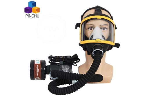 ZYC Electric Constant Flow Supplied Air Fed Full Face Respirators Gas Mask Blower/Breathing Tube/Charger/Filter/Belt Combined Gas Mas