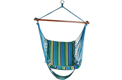 Sunnydaze Hanging Hammock Chairs Swing with Footrest, Padded Soft Cushions, Indoor/Outdoor, 330 Pound Capacity, Ocean Breeze