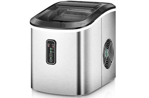 Euhomy Ice Makers Machine Countertop, Makes 26 lbs Ice in 24 hrs-Ice Cubes Ready in 9 Mins, Compact&Lightweight Ice Makers with Ice Scoop and Basket