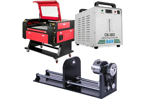 """VEVOR Laser Engraver 80W Laser Engraving Machines 20""""x28"""" CO2 Laser Engraver Cutter 500mm x 700mm with Industrial Chiller CW-3000DG Water Chiller 9L and 80mm Rotary Axis Rotary Attachment"""