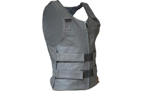 IKleather Mens Bullet Proof style Leather Motorcycle Vest for bikers Club Tactical Vests (XXL, Silver)