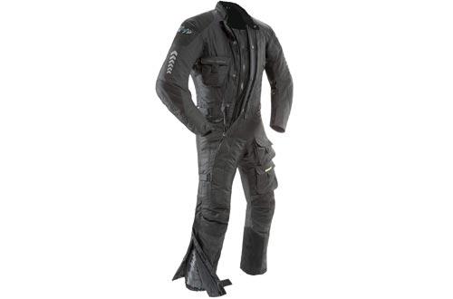 Joe Rocket Survivor Men's Waterproof 1-Piece Motorcycle Riding Suit (Black/Black, Large)