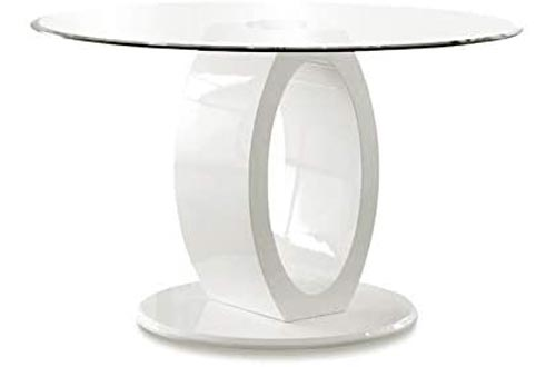 Furniture of America Hugo Round Tempered Glass Top Dining Tables in White