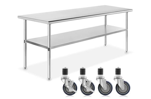 GRIDMANN NSF Stainless Steel Commercial Kitchen Prep & Work Tables w/ 4 Casters (Wheels) - 72 in. x 30 in.