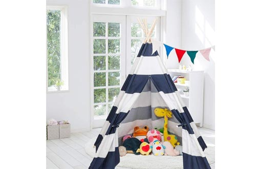 JOYMOR Extra Large Space 5 Poles Teepee Upgraded 6' Foldable Cotton Canvas Indoor Tents Indian Playhouse for Kids Play with Banner,Carry Bag,Window,Pocket