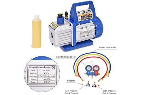 Goplus 1/3HP 4CFM Single Stage Rotary Vane Vacuum Pumps and R134a Manifold Gauge Set, HVAC A/C Refrigeration Kit, Including Vacuum Pumps, A Bottle of Vacuum Pumps Oil, Suitable